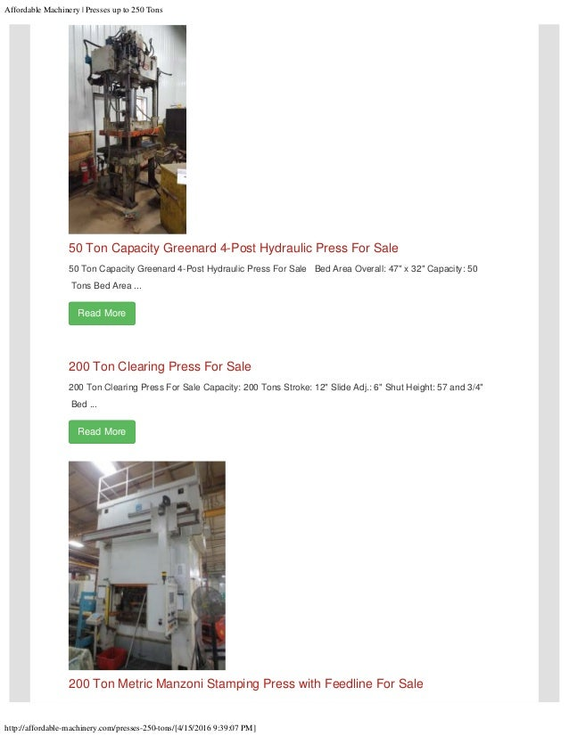 www Affordable-Machinery com Presses up to 250 Tons For Sale