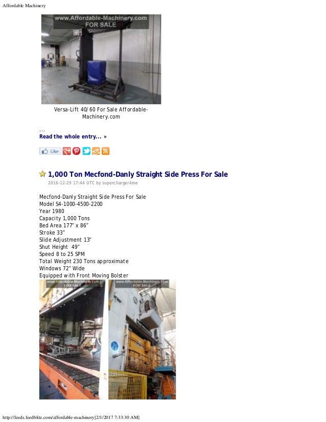 300 Ton Danly Press, 300 Ton USI Clearing Press, 800 Ton