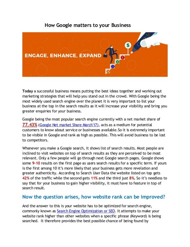 How Google matters to your Business Today a successful business means putting the best ideas together and working out mark...