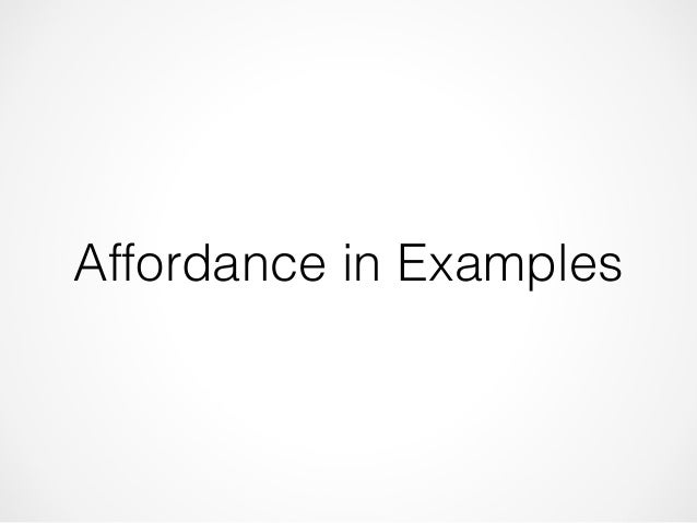 Affordance in Examples