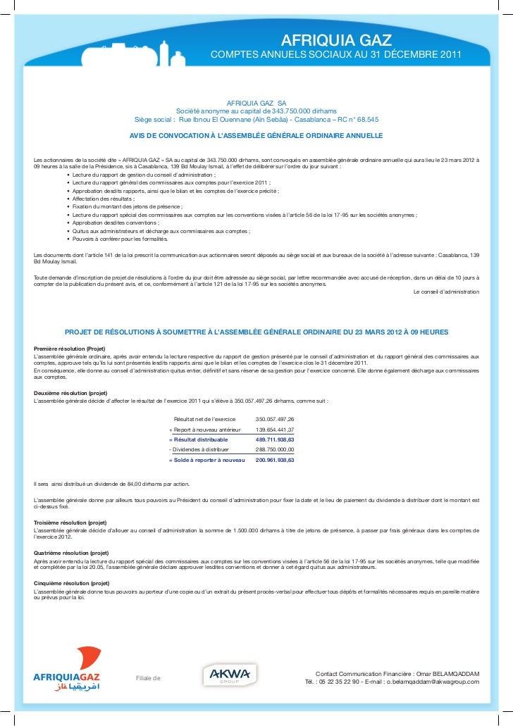 AFRIQUIA GAZ                                                                         COMPTES ANNUELS SOCIAUX AU 31 DÉCEMBR...