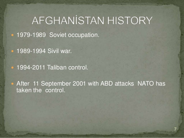  After 11 September 2001, with attacks of ABD to Afghanistan conflict starts.  Afghanistan still poses a major threat to...