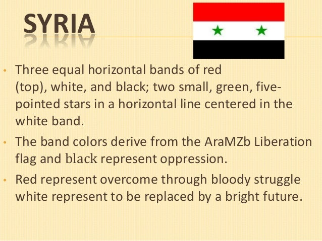 SYRIA •  •  •  Three equal horizontal bands of red (top), white, and black; two small, green, fivepointed stars in a horiz...
