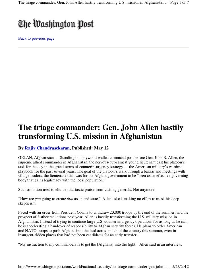 The triage commander: Gen. John Allen hastily transforming U.S. mission in Afghanistan... Page 1 of 7Back to previous page...