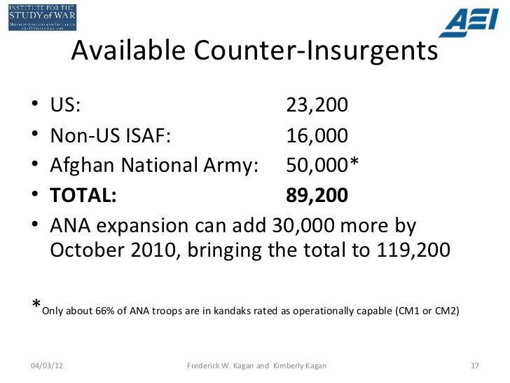 Available Counter-Insurgents•   US:                      23,200•   Non-US ISAF:             16,000•   Afghan National Army...