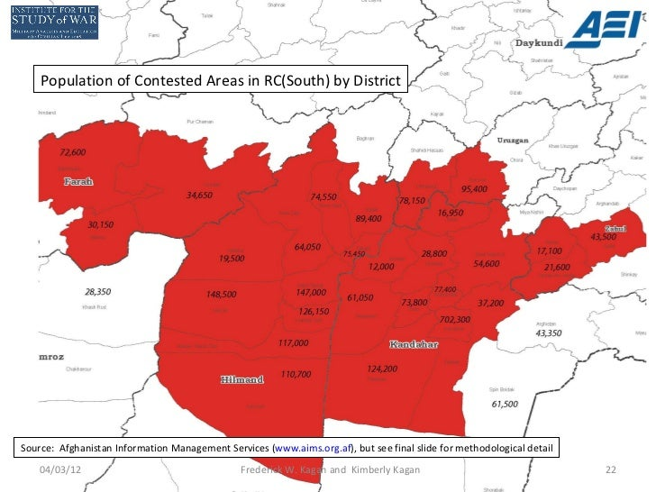 Population of Contested Areas in RC(South) by DistrictSource: Afghanistan Information Management Services (www.aims.org.af...