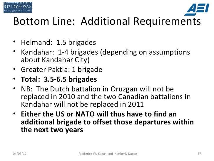 Bottom Line: Additional Requirements• Helmand: 1.5 brigades• Kandahar: 1-4 brigades (depending on assumptions  about Kanda...