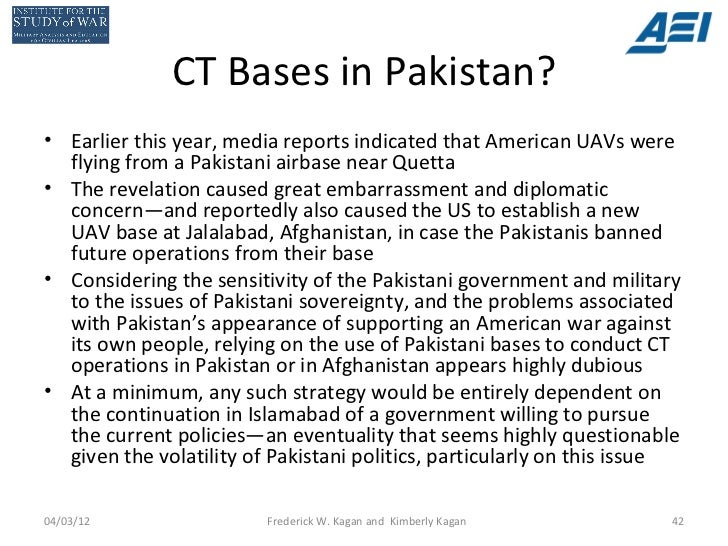 CT Bases in Pakistan?• Earlier this year, media reports indicated that American UAVs were  flying from a Pakistani airbase...