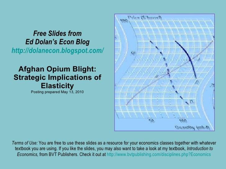 Free Slides from Ed Dolan's Econ Blog http://dolanecon.blogspot.com/ Afghan Opium Blight: Strategic Implications of Elasti...