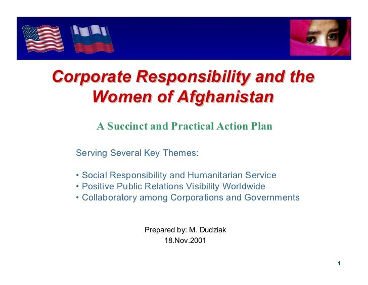 Intel ConfidentialCorporate Responsibility and the    Women of Afghanistan       A Succinct and Practical Action Plan   Se...