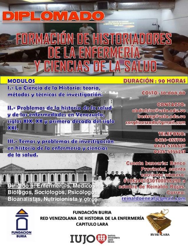 FUNDACIÓN BURIA RED VENEZOLANA DE HISTORIA DE LA ENFERMERÍA CAPITULO LARA Dirigido a: Enfermer@s, Médicos, Biólogos, Soció...