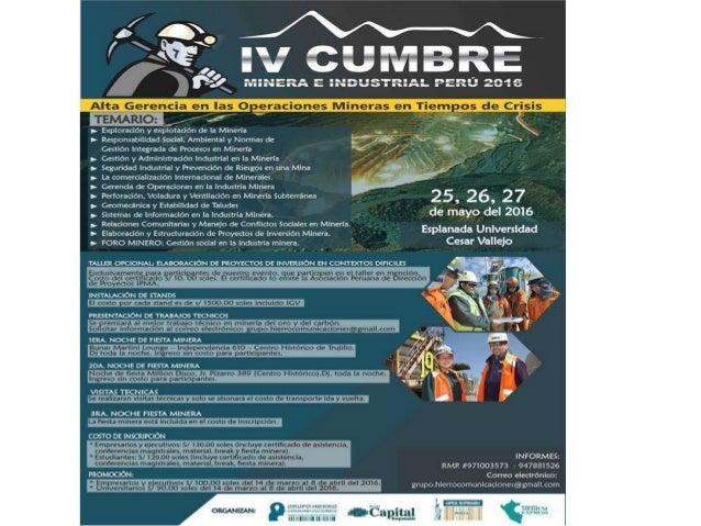 IV Cumbre de la Inversión Minera e... - Cumbre Minera - Industrial Perú