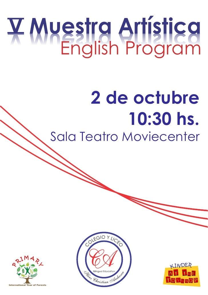 English Program                                      2 de octubre                                          10:30 hs.      ...