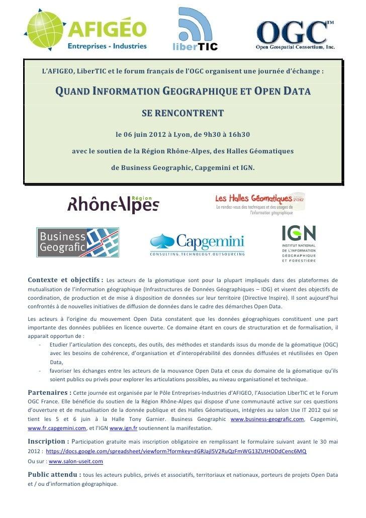 L'AFIGEO, LiberTIC et le forum français de l'OGC organisent une journée d'échange :           QUAND INFORMATION...