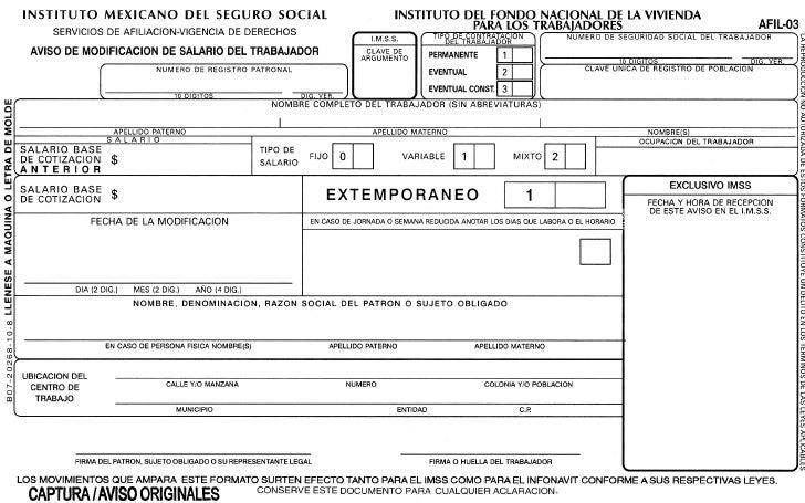 Afil 03 AVISO DE MODIFICACIÓN DEL SALARIO DEL TRABAJADOR