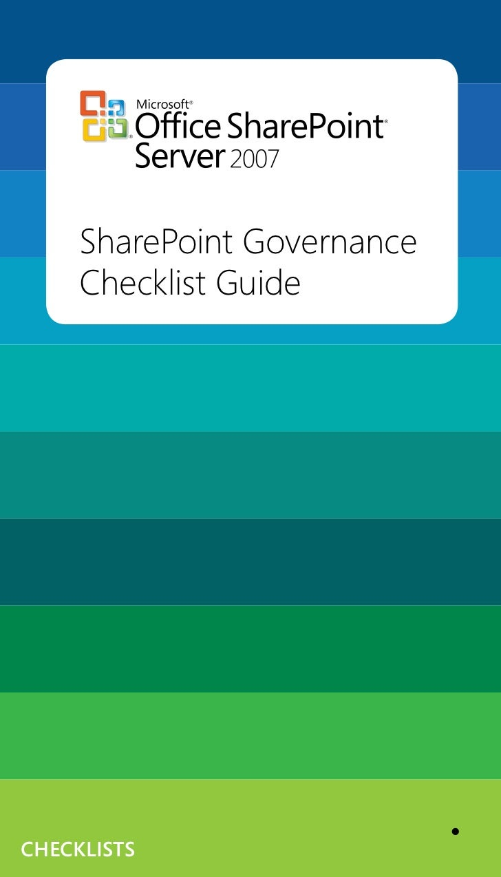 SharePoint Governance      Checklist Guide     checklists