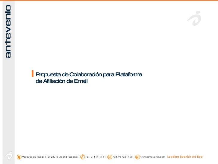 Propuesta de Colaboración para Plataforma de Afiliación de Email