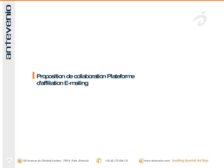 Proposition de collaboration Plateforme d'affiliation E-mailing