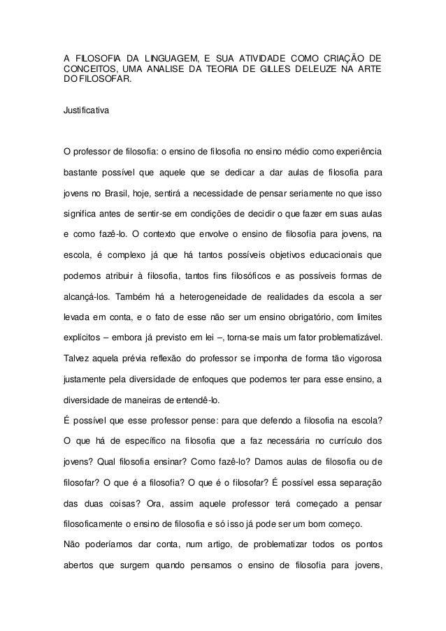 A FILOSOFIA DA LINGUAGEM, E SUA ATIVIDADE COMO CRIAÇÃO DE  CONCEITOS, UMA ANALISE DA TEORIA DE GILLES DELEUZE NA ARTE  DO ...