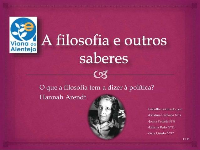 - O que a filosofia tem a dizer à política? - Hannah Arendt Trabalho realizado por: -Cristina Cachapa Nº3 -Joana Fadista N...