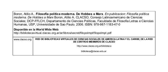 Boron, Atilio A.. Filosofia política moderna. De Hobbes a Marx. En publicacion: Filosofia política  moderna. De Hobbes a M...