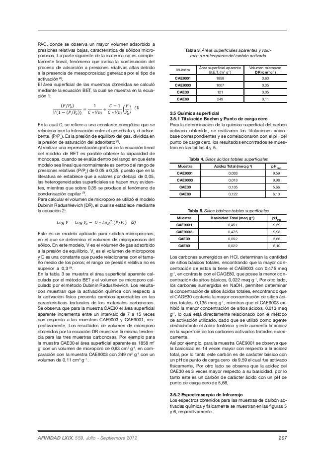 PAC, donde se observa un mayor volumen adsorbido a  presiones relativas bajas, característica de sólidos micro-porosos,  L...