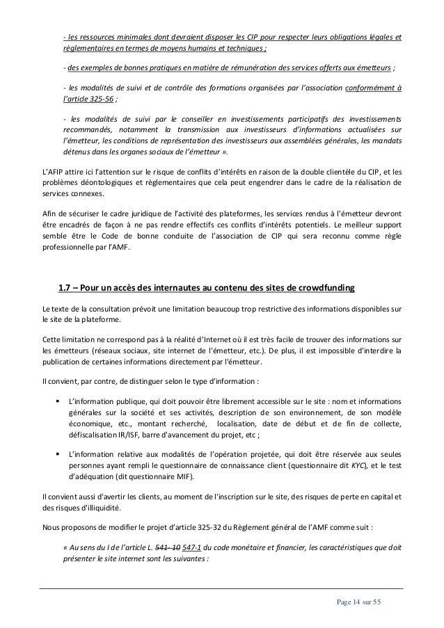 - les ressources minimales dont devraient disposer les CIP pour respecter leurs obligations légales et règlementaires en t...