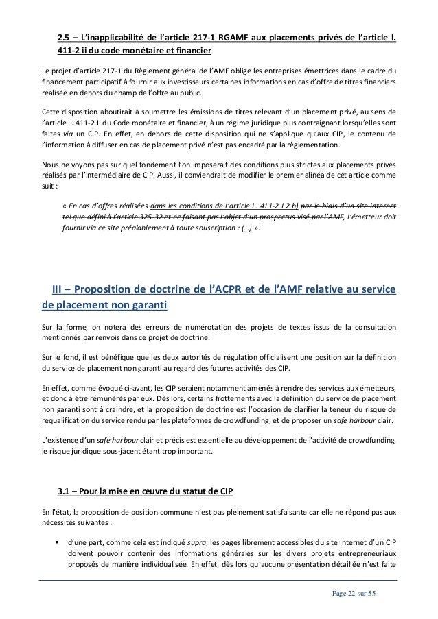 2.5 – L'inapplicabilité de l'article 217-1 RGAMF aux placements privés de l'article l. 411-2 ii du code monétaire et finan...