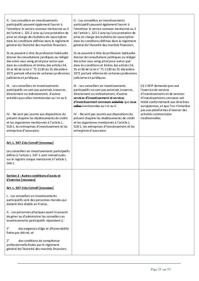 II. - Les conseillers en investissements participatifs peuvent également fournir à l'émetteur le service connexe mentionné...