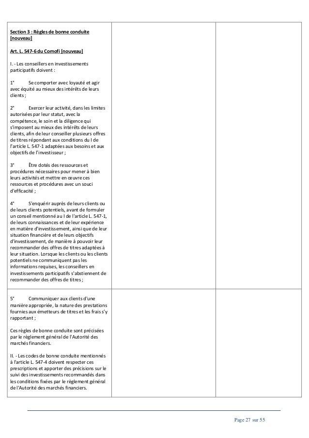 Section 3 : Règles de bonne conduite [nouveau] Art. L. 547-6 du Comofi [nouveau] I. - Les conseillers en investissements p...