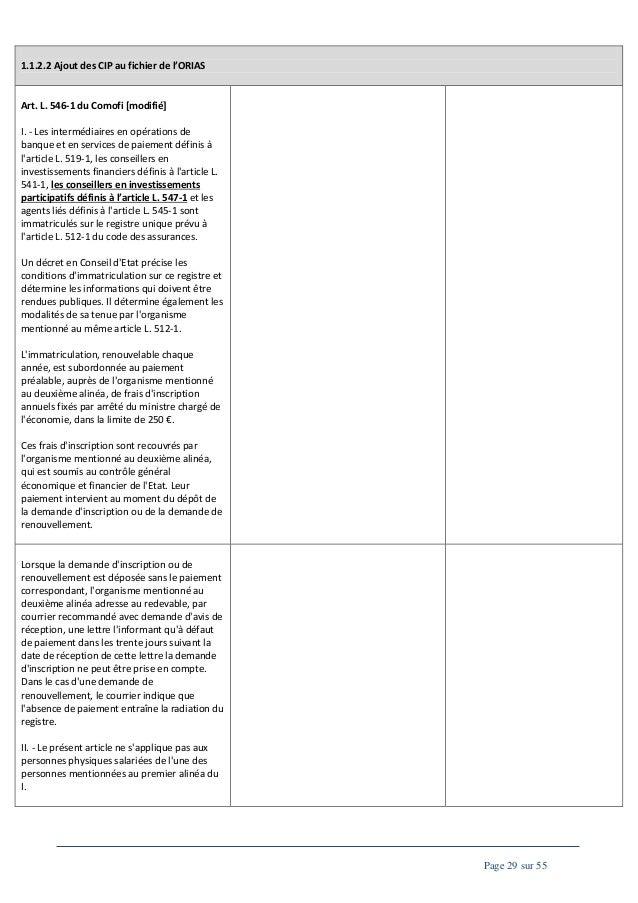 1.1.2.2 Ajout des CIP au fichier de l'ORIAS  Art. L. 546-1 du Comofi [modifié] I. - Les intermédiaires en opérations de ba...