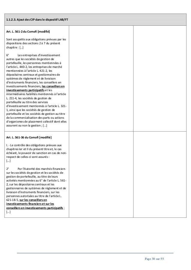 1.1.2.3. Ajout des CIP dans le dispositif LAB/FT  Art. L. 561-2 du Comofi [modifié] Sont assujettis aux obligations prévue...