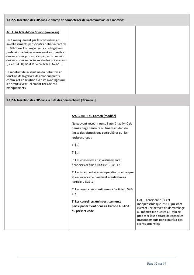 1.1.2.5. Insertion des CIP dans le champ de compétence de la commission des sanctions  Art. L. 621-17-1-2 du Comofi [nouve...