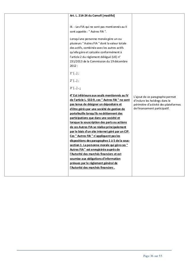 """Art. L. 214-24 du Comofi [modifié]  III. - Les FIA qui ne sont pas mentionnés au II sont appelés : """" Autres FIA """". Lorsqu'..."""