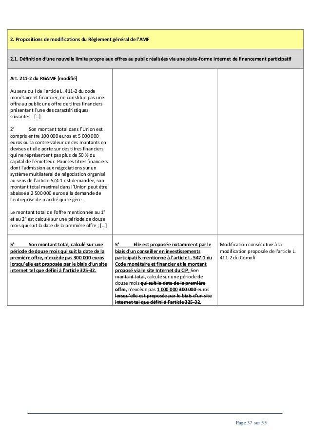 2. Propositions de modifications du Règlement général de l'AMF  2.1. Définition d'une nouvelle limite propre aux offres au...