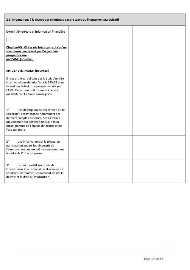 2.2. Informations à la charge des émetteurs dans le cadre du financement participatif  Livre II : Émetteurs et information...