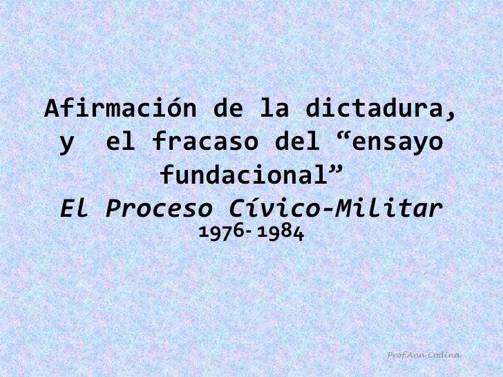 """Afirmación de la dictadura, y  el fracaso del """"ensayo fundacional""""El Proceso Cívico-Militar<br />1976- 1984<br />Prof.Ana ..."""