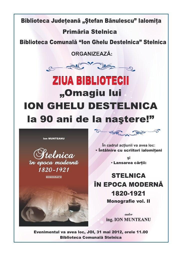 """Eveniment: ZIUA BIBLIOTECII """"ION GHELU DESTELNICA"""""""