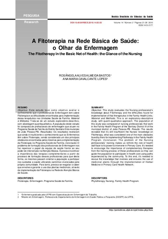 PESQUISA Research DOI:10.4034/RBCS.2010.14.02.03 Volume 14 Número 2 Páginas 21-28 2010 ISSN 1415-2177 Revista Brasileira d...