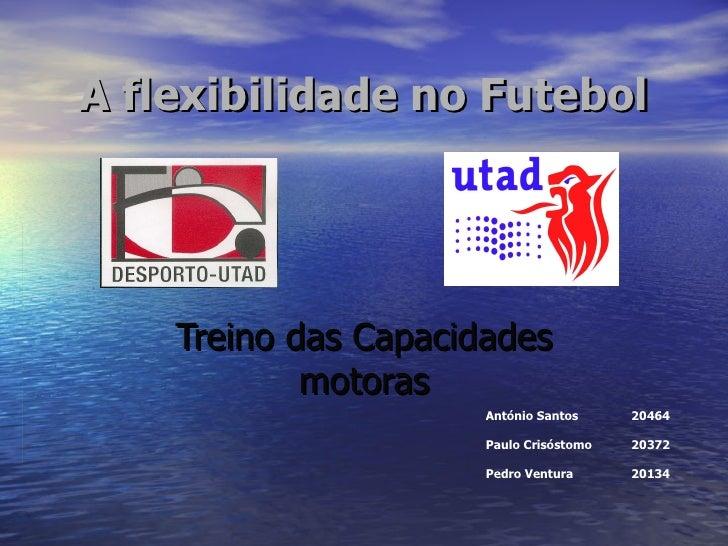 A flexibilidade no Futebol Treino das Capacidades motoras António Santos 20464 Paulo Crisóstomo 20372   Pedro Ventura 20134