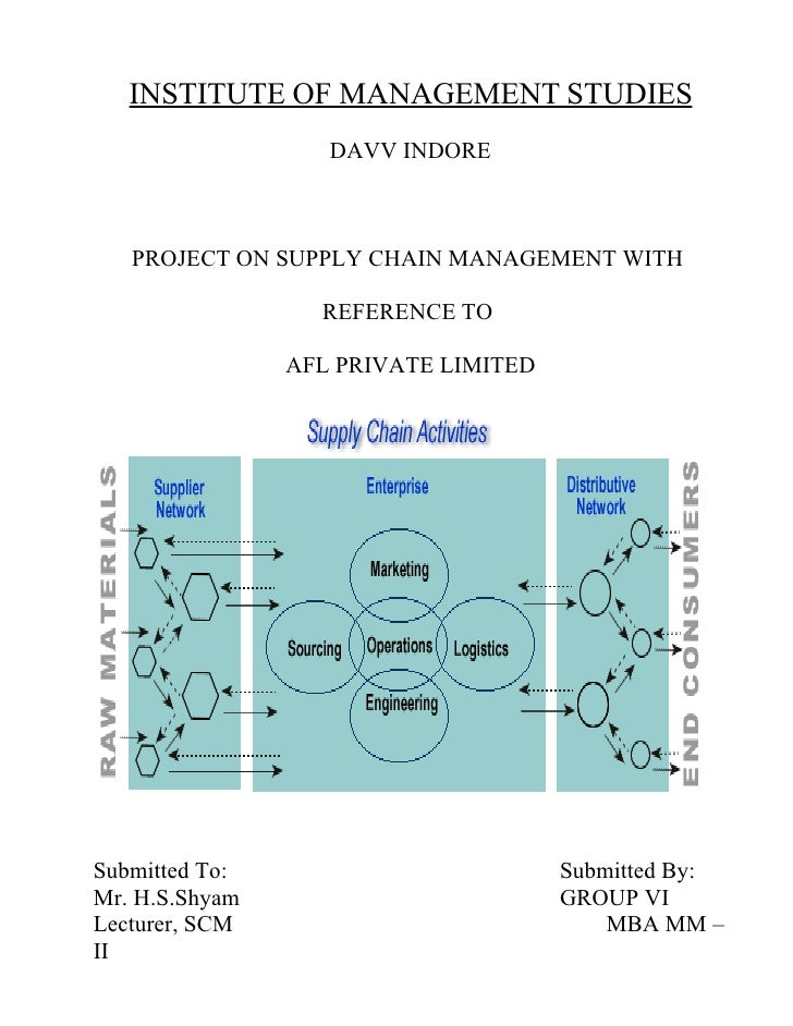 INSTITUTE OF MANAGEMENT STUDIES                    DAVV INDORE       PROJECT ON SUPPLY CHAIN MANAGEMENT WITH              ...