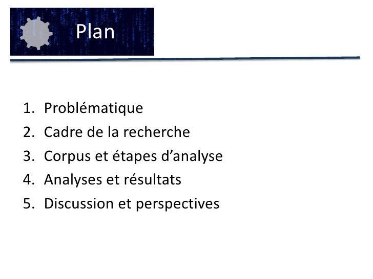 Plan<br />Problématique<br />Cadre de la recherche<br />Corpus et étapes d'analyse<br />Analyses et résultats<br />Discuss...