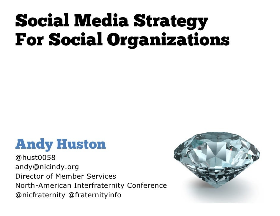 Social Media StrategyFor Social OrganizationsAndy Huston@hust0058andy@nicindy.orgDirector of Member ServicesNorth-American...