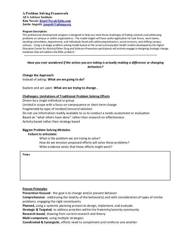 A Problem Solving FrameworkAFA Advisor InstituteKim Novak: Kim@NovakTalks.comJustin Angotti: jangotti@pikapp.orgProgram De...