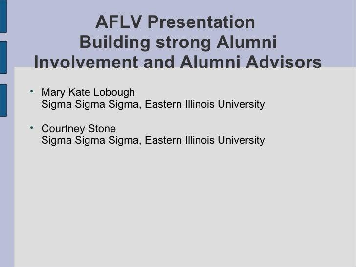 AFLV Presentation  Building strong Alumni Involvement and Alumni Advisors <ul><li>Mary Kate Lobough Sigma Sigma Sigma, Eas...