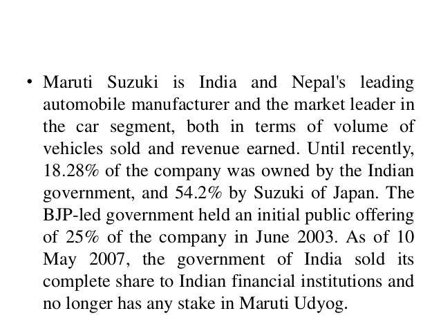 Maruti Suzuki Government Stake
