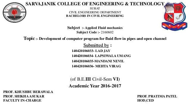 Development of computer program for fluid flow in pipes and