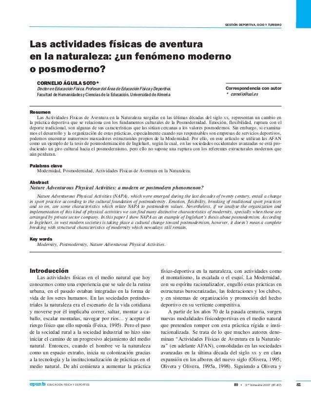 gEstión deportiva, ocio y turismo 89 • 3.er trimestre 2007 (81-87)apunts EDUCACIÓN FÍSICA Y DEPORTES 81 Introducción Las...