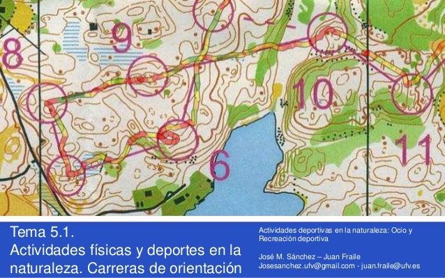Tema 5.1. Actividades físicas y deportes en la naturaleza. Carreras de orientación Actividades deportivas en la naturaleza...