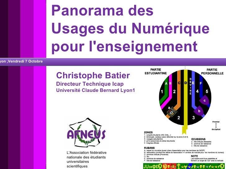 Panorama des  Usages du Numérique pour l'enseignement L'Association fédérative nationale des étudiants universitaires scie...